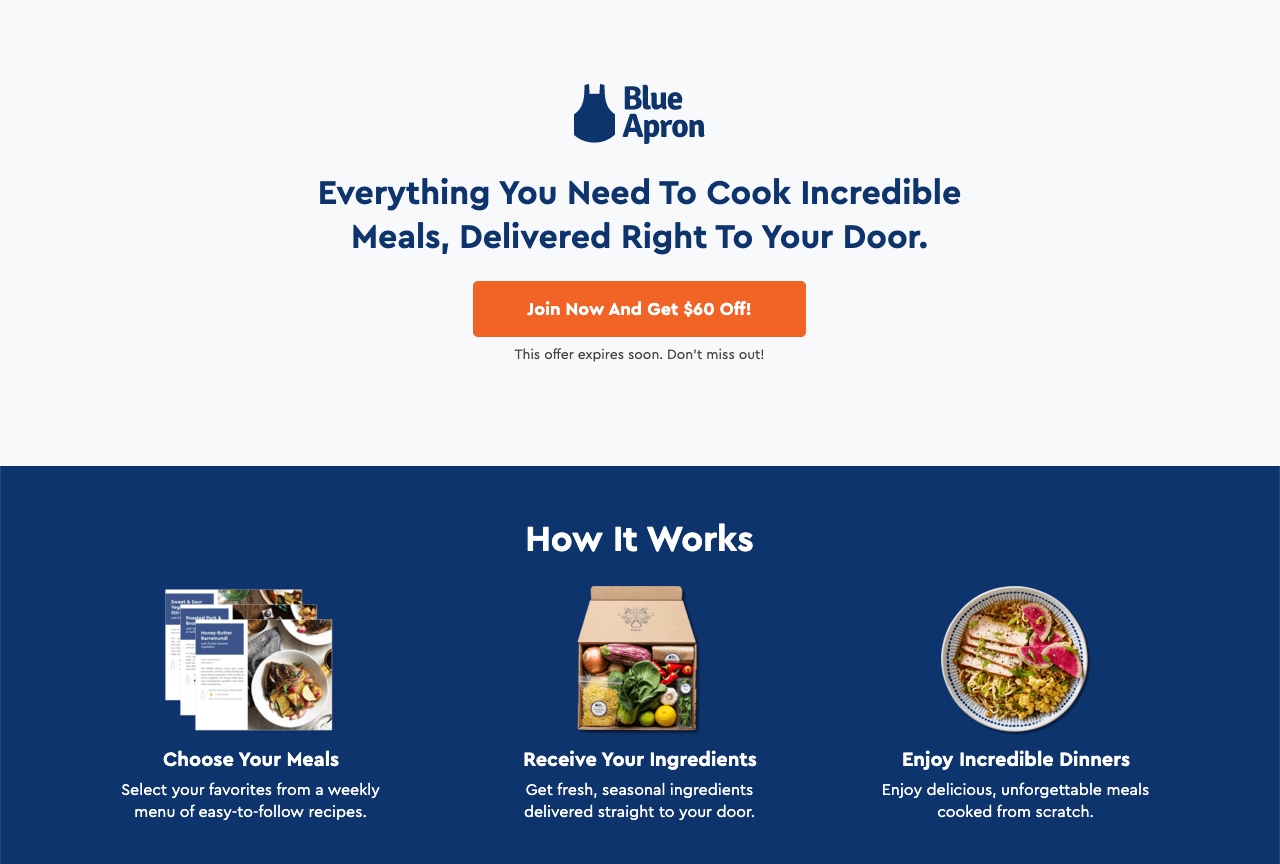 Blue Apron bring a great example of a cohesive landing page design