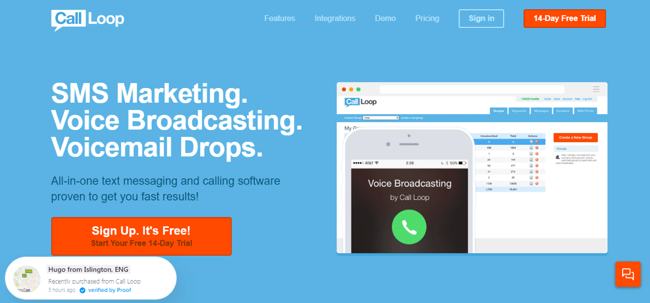 Call Loop use Nudgify to create the FOMO effect on their landing page