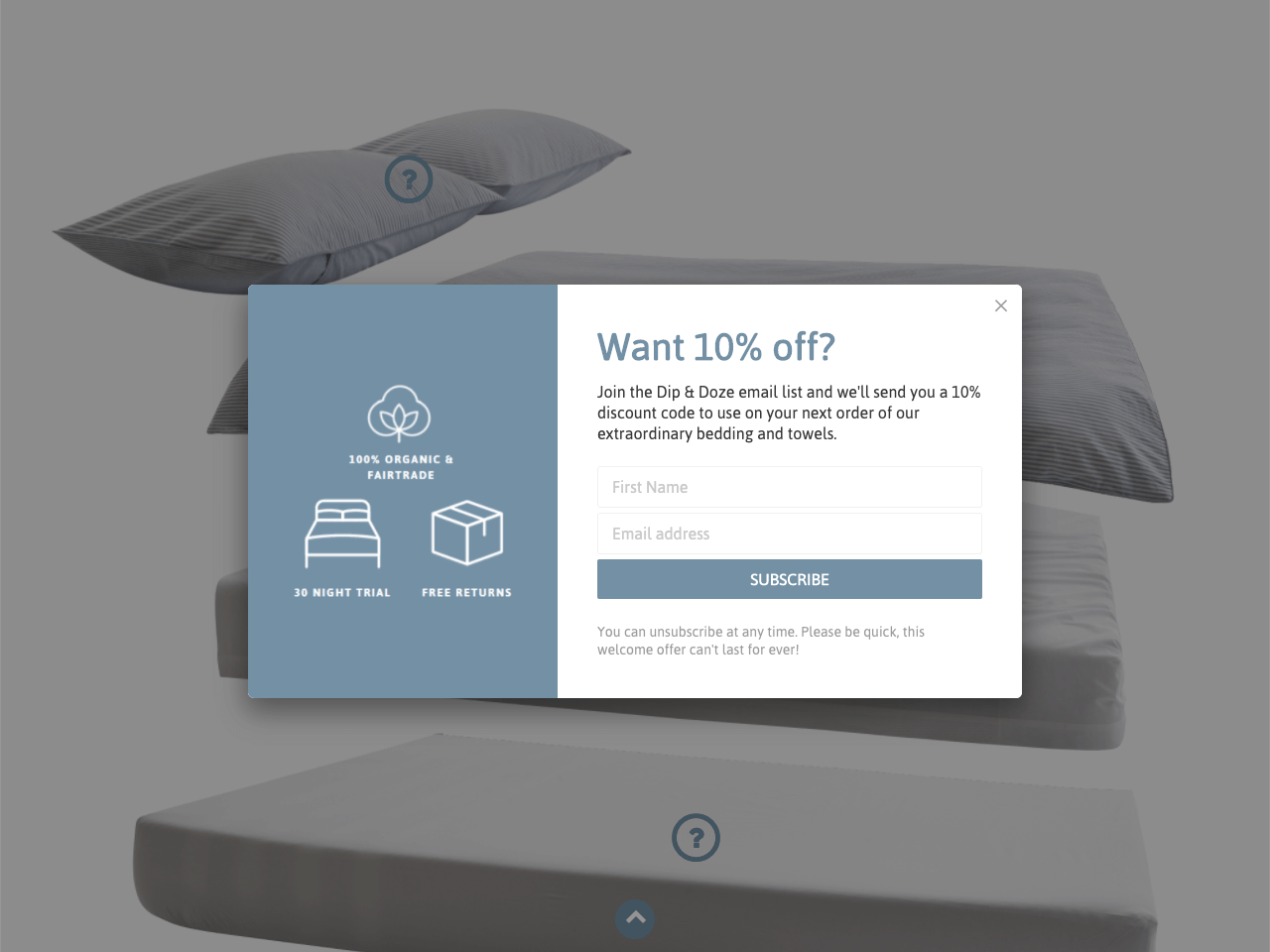 Dip & Doze use an email signup popup to boost conversions on a landing page