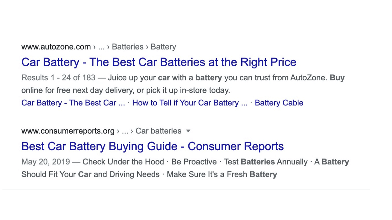 Meta description examples from car battery stores: a generic one and a specific one