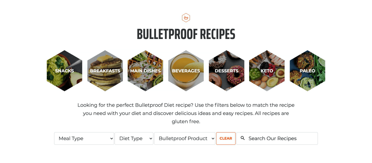 Bulletproof recipes create content built around their customers interests, not around their product