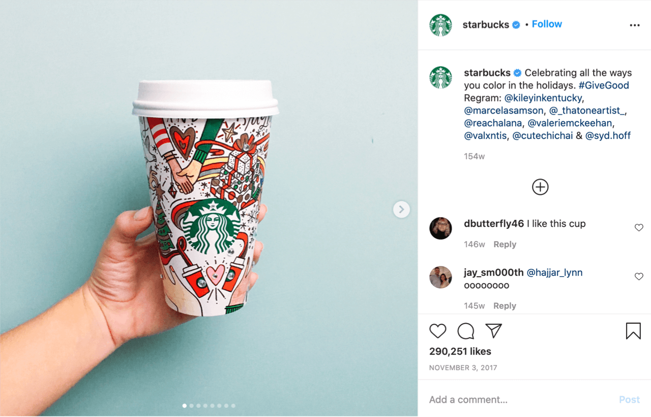 Starbucks feature holiday-themed merchandise on their social media