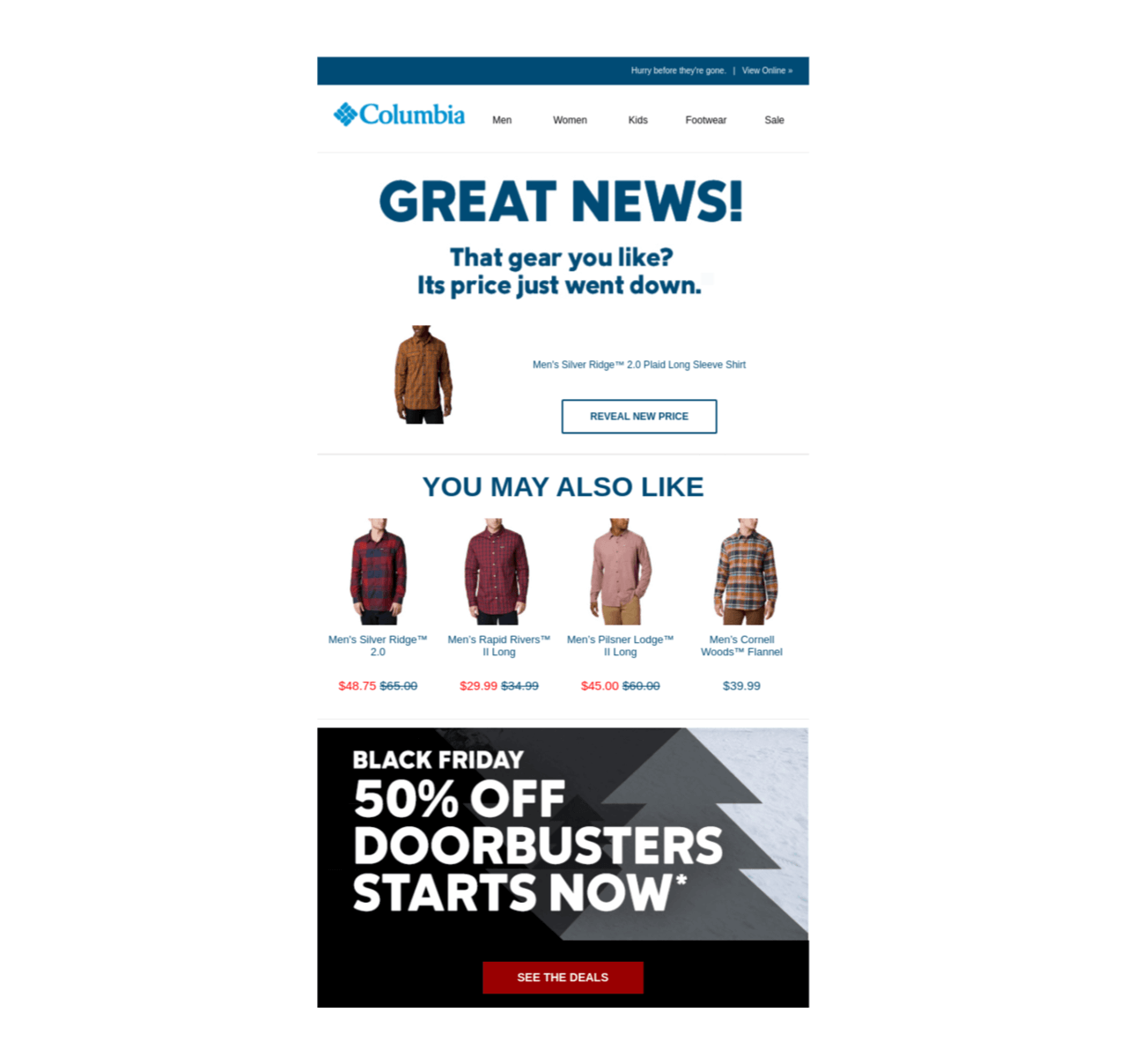 Columbia used personalized emails to drive their customers' attention to their Black Friday sale