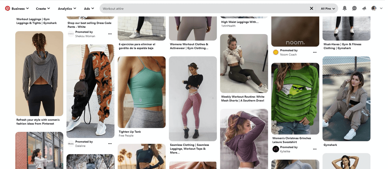 Workout attire brands use Pinterest to drive traffic to their stores