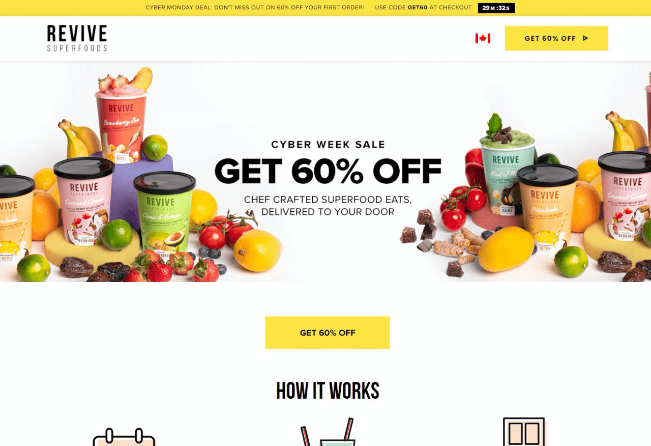 Revive Superfoods drives new visitors to landing pages instead of the home page