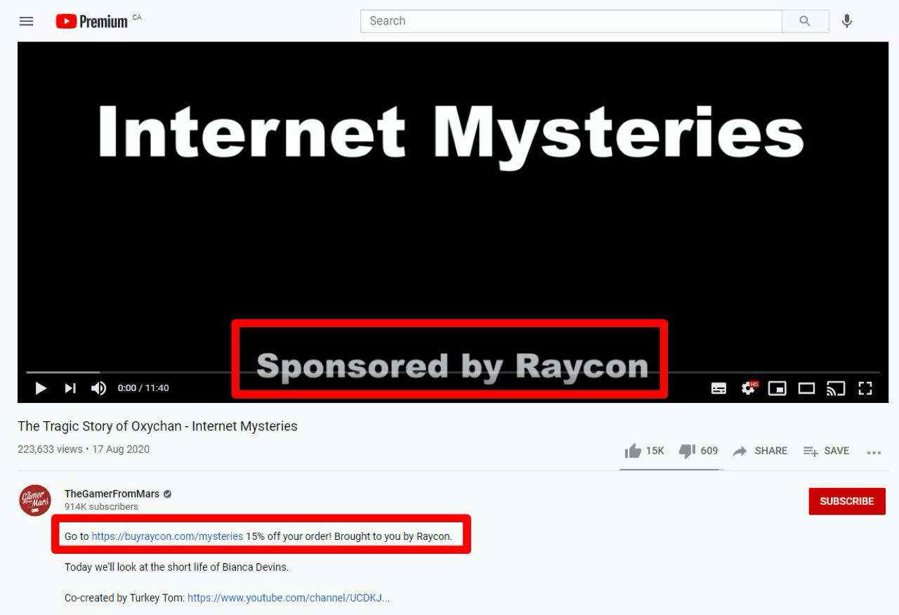 Raycon partners with relevant YouTube influencers to spread the word about their brand