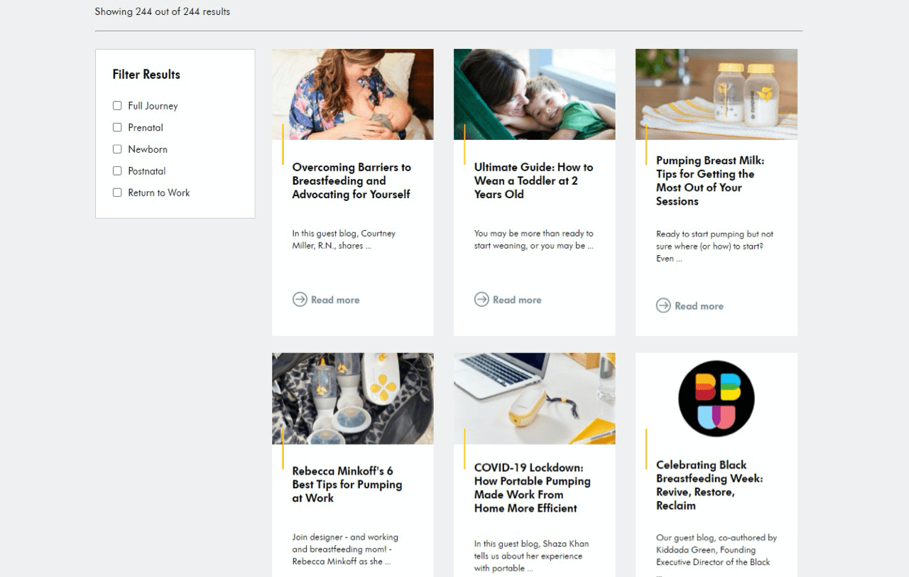 Medela creates tons of quality content for new moms to drive traffic to their store and establish brand authority