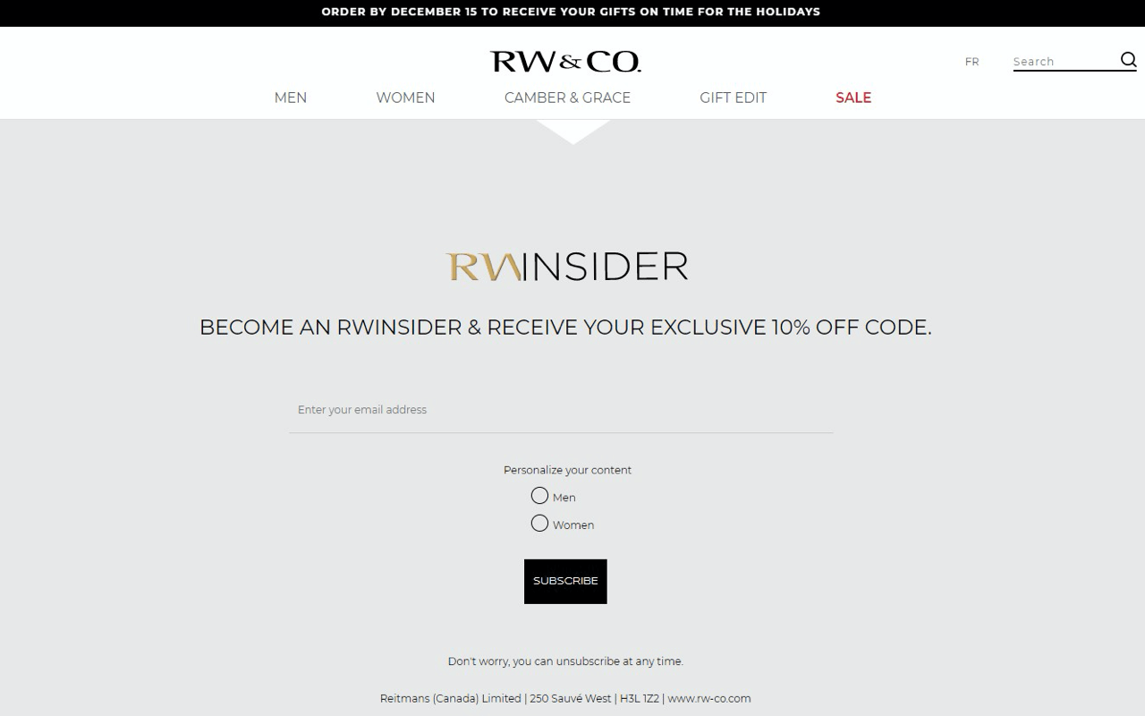 RW&Co uses an embedded email subscription form to turn store visitors into subscribers