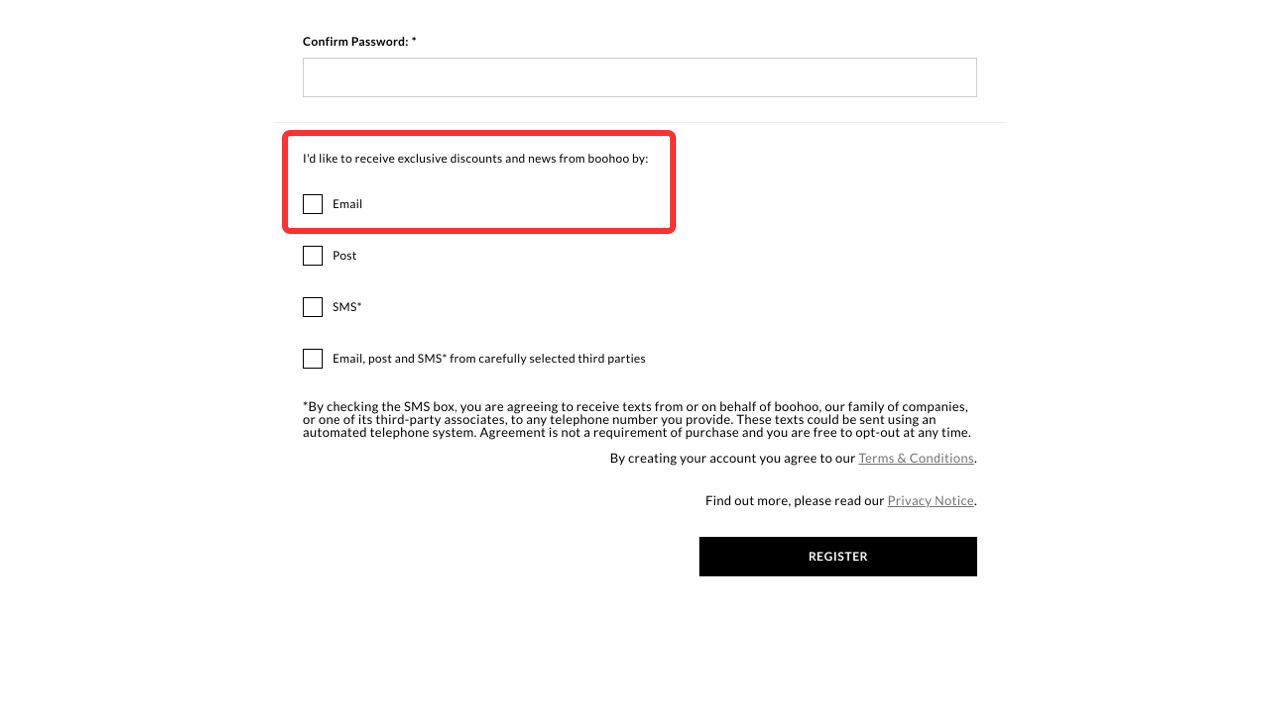 Boohoo provides an option to sign up during the account creation to get more email subscribers for their store