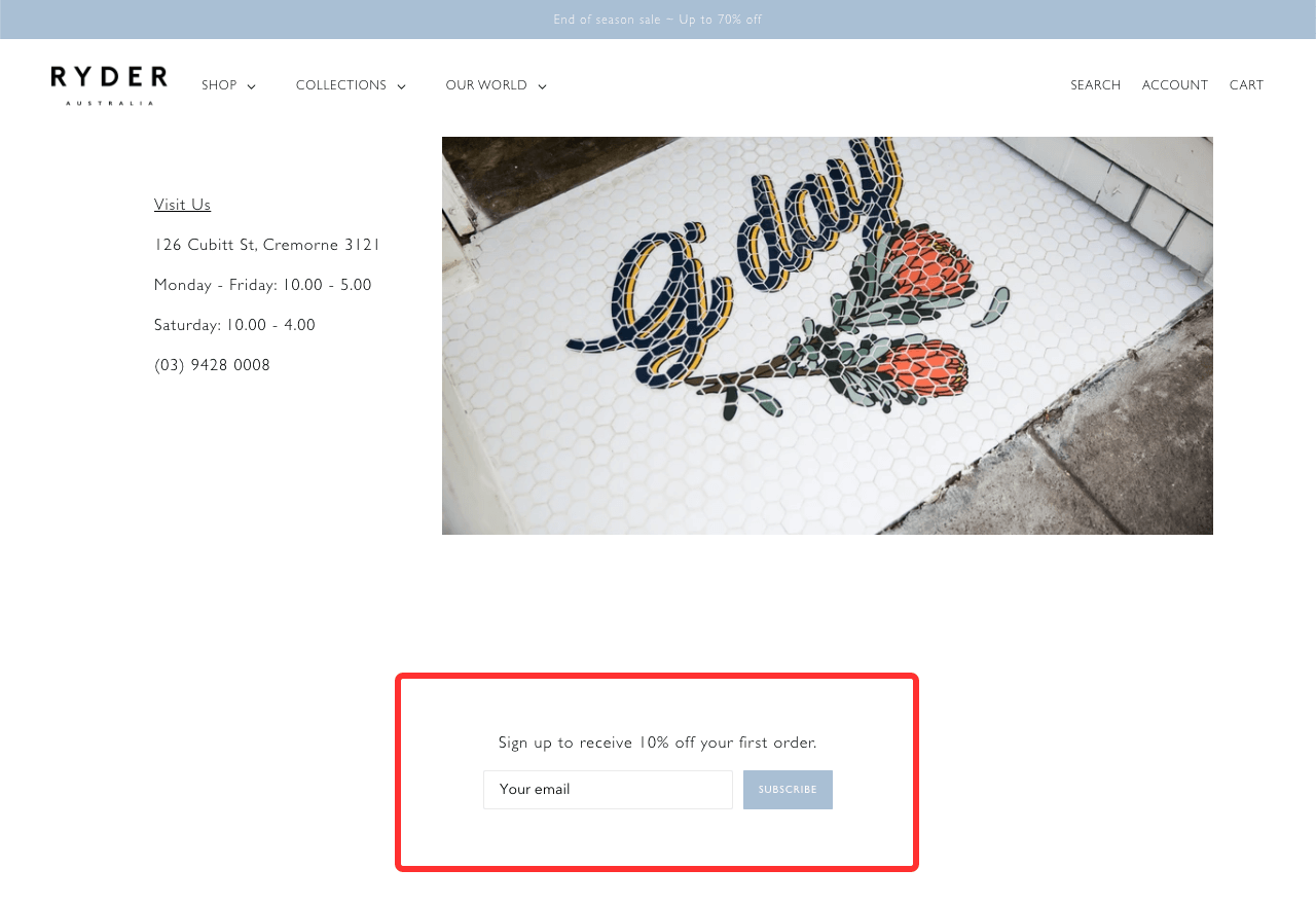 Site-wide sign-up forms are essential if you're trying to get more email subscribers for your store
