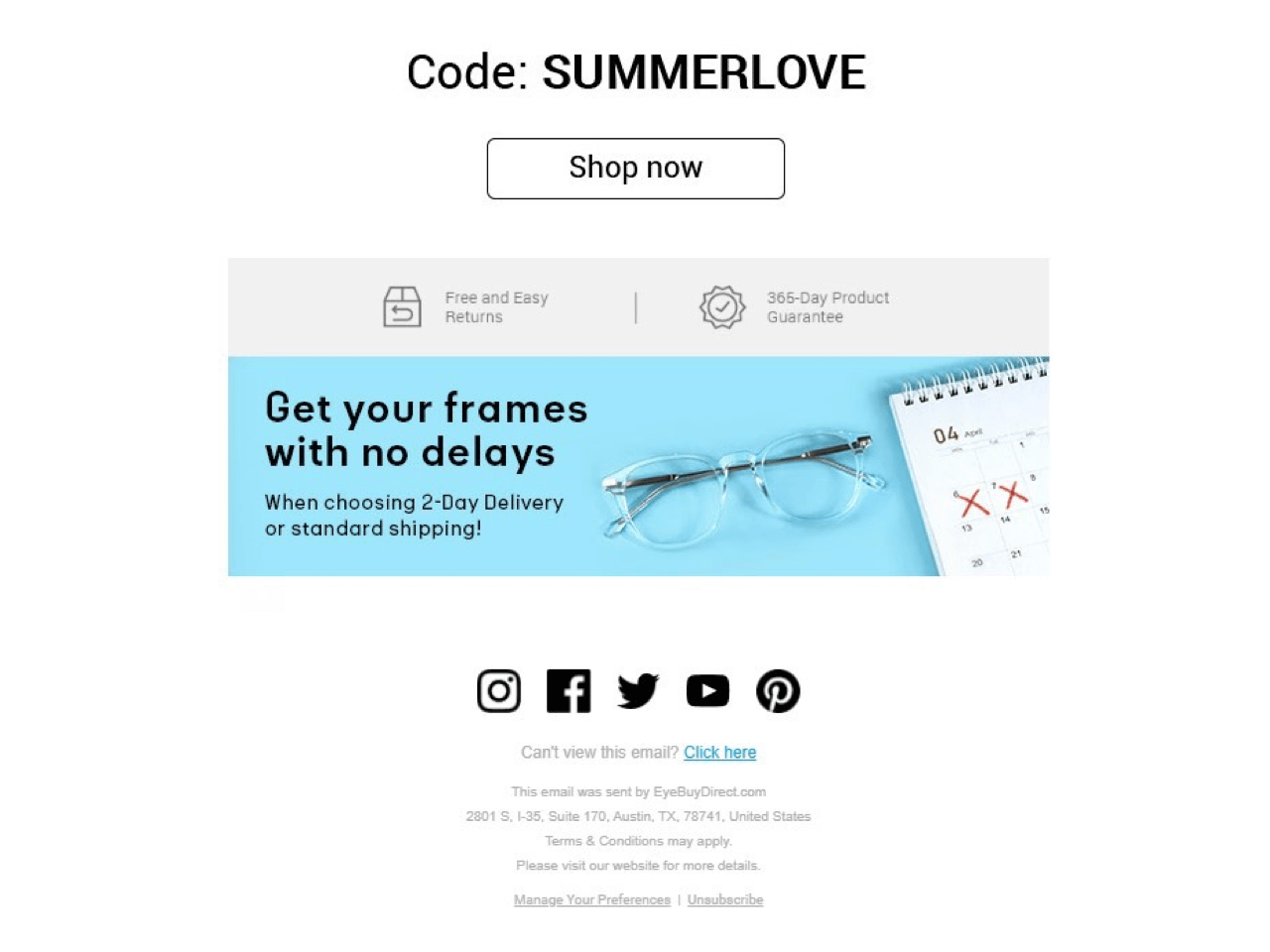 Eye Buy Direct promo newsletter example