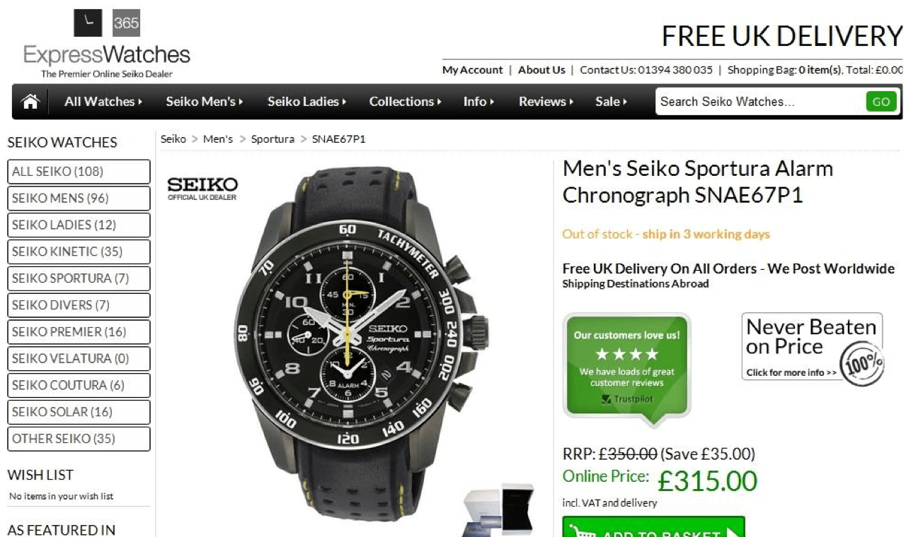 Express Watches swaps the price guarantee to a stamp of an authorized dealer to increase ecommerce conversion rates