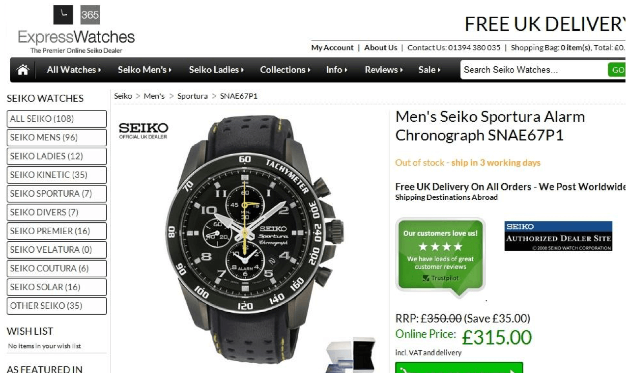 Product authenticity guarantee helps Express Watches boost checkout conversions
