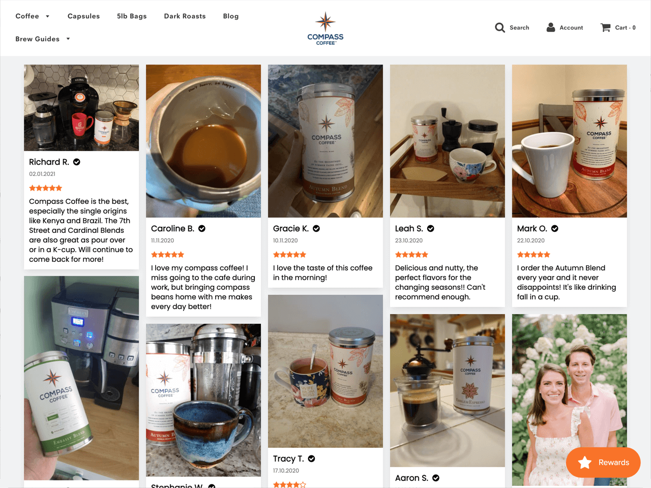 Compass Coffee features multiple customer reviews on their product pages