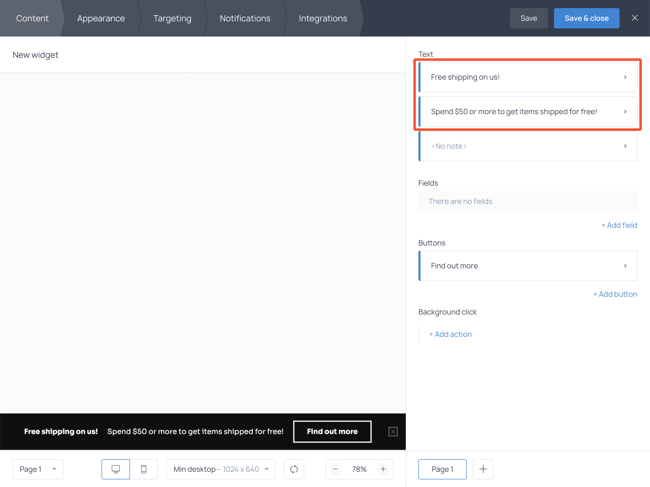 How to customize the copy on the free shipping bar
