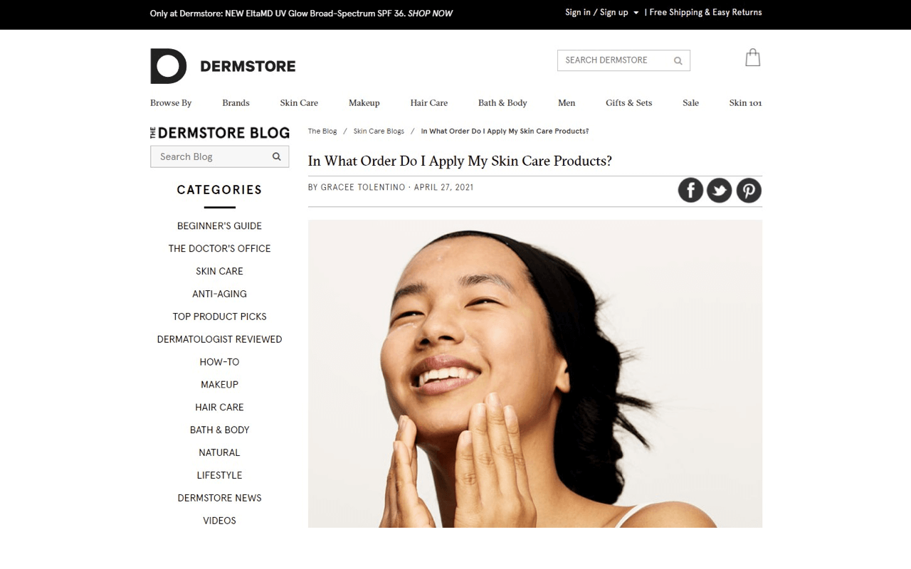 A Shopify-store blog post ranked on the first page for the keyword healthy skincare routine