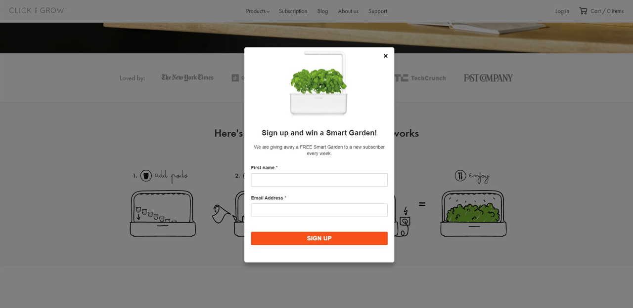 Click'n'Grow utilize exit-intent popups in their Shopify blog to grow their email list