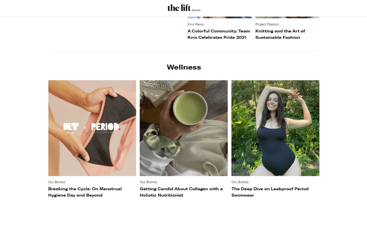The lift by Knox is a great example of Shopify Store blog that is interesting and engaging