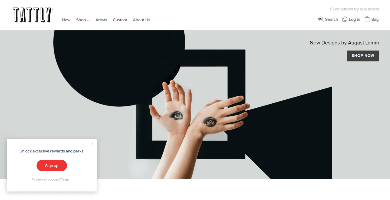 Tattly uses a slide-in to invite customers to join their email list