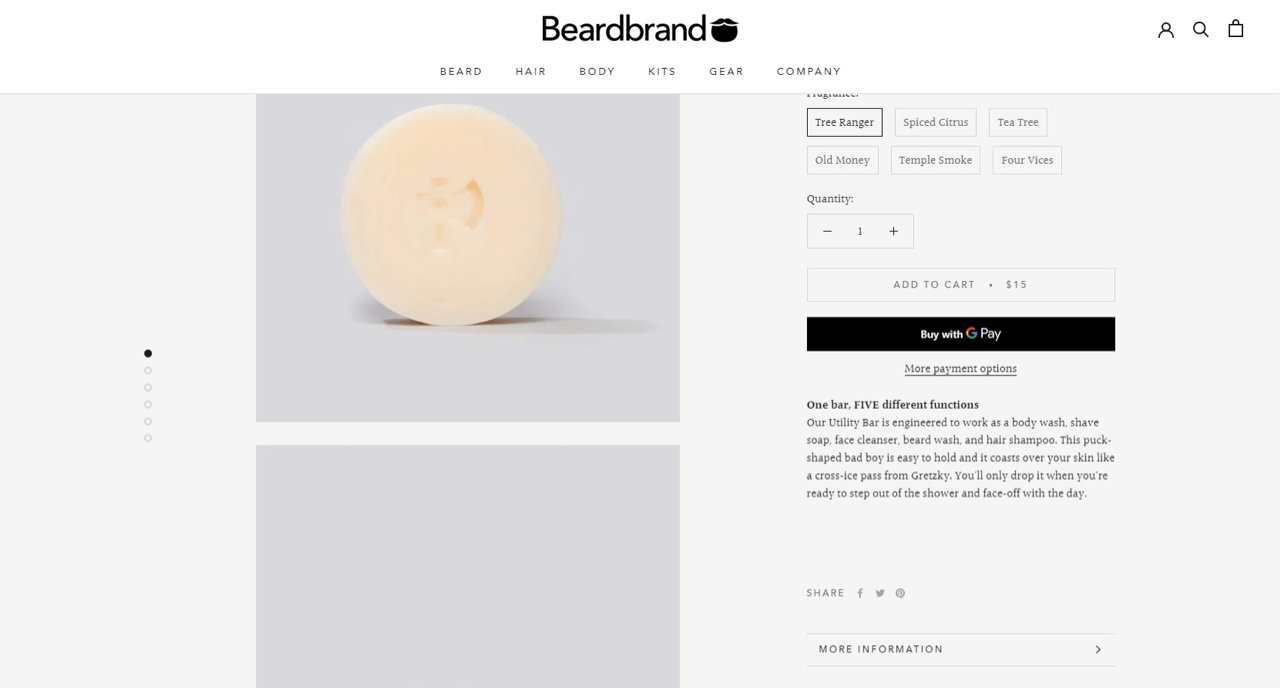 Unconventional product description example by Beardbrand