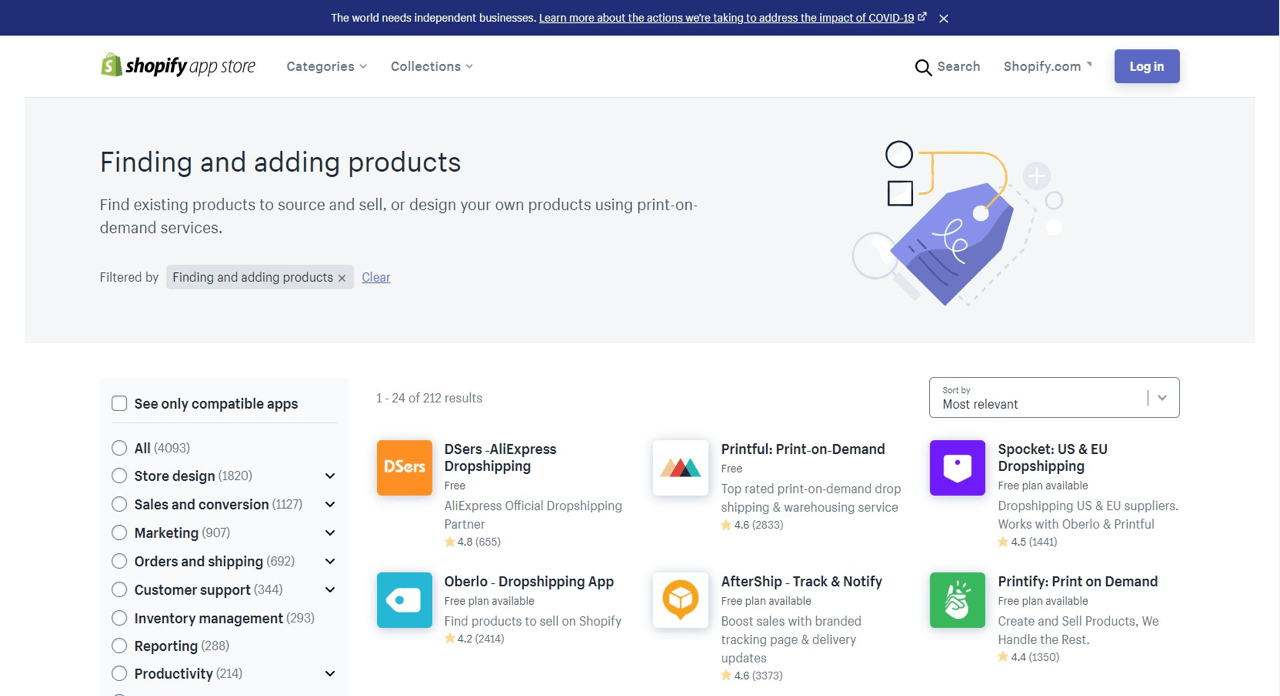 Product-sourcing apps available for Shopify users