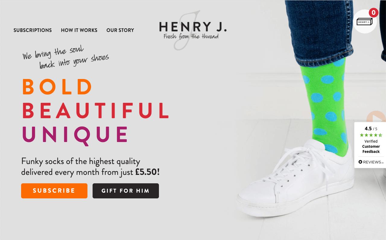 Henri J, a socks subscription company built their store on WordPress