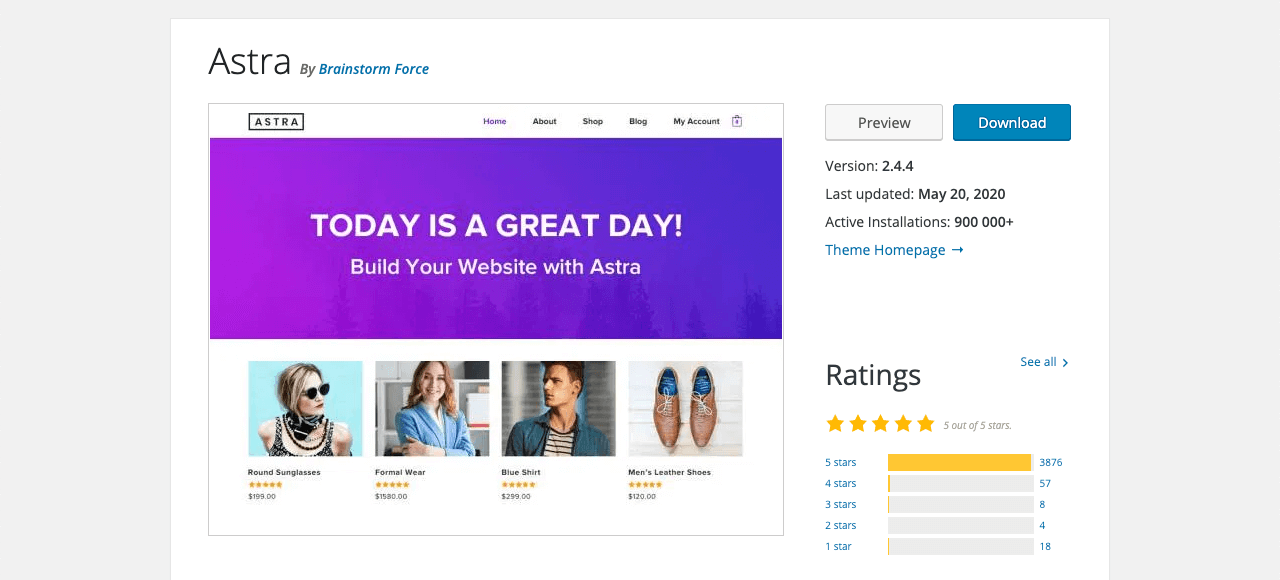 Astra WordPress theme used for building an ecommerce store
