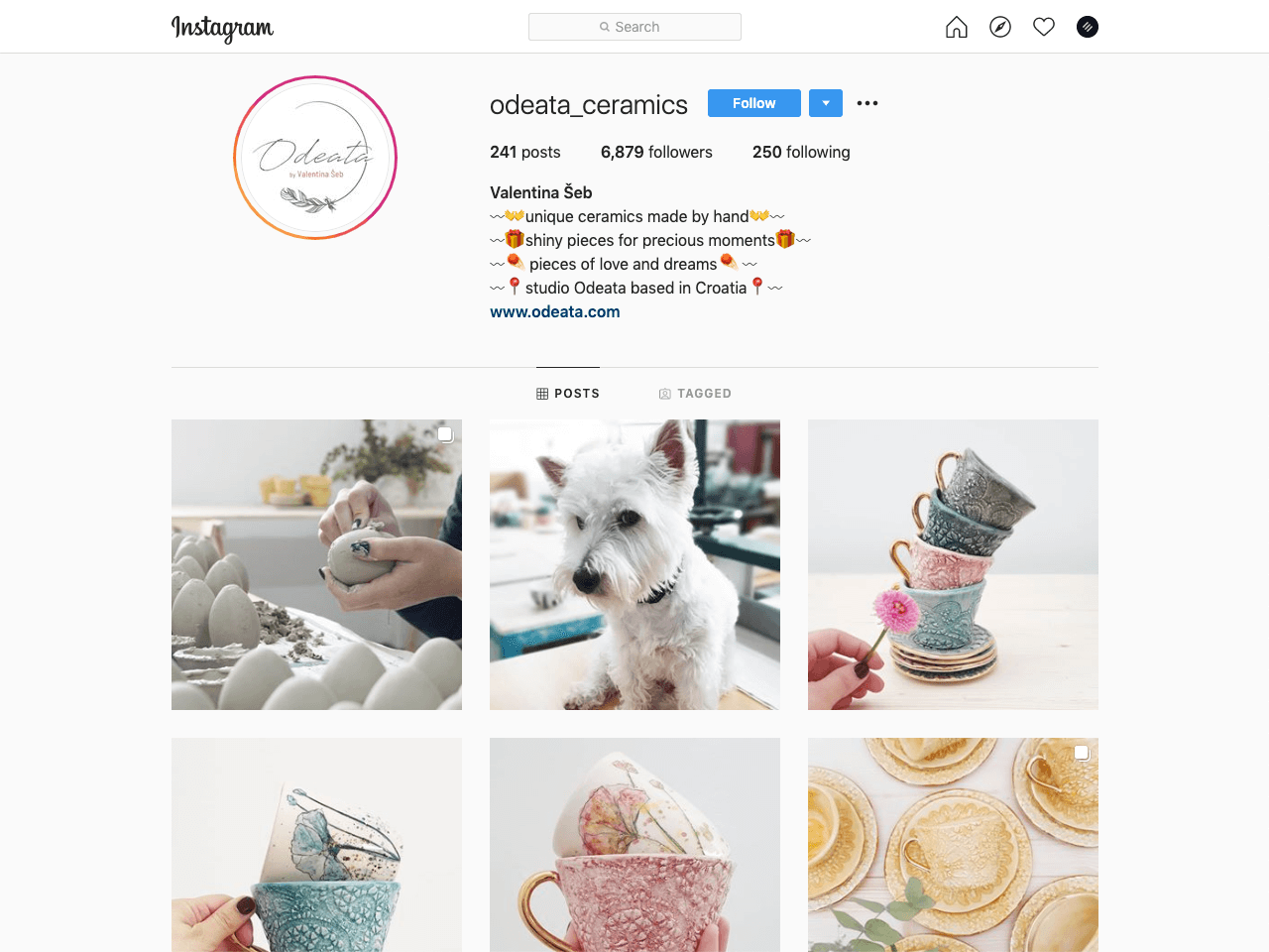 Perfectly designed Instagram feed by a handmade ceramics shop