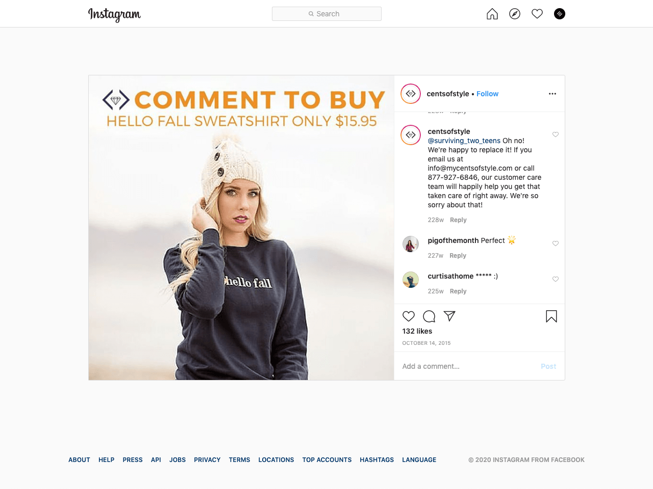 How to sell apparel on Instagram using the comments section