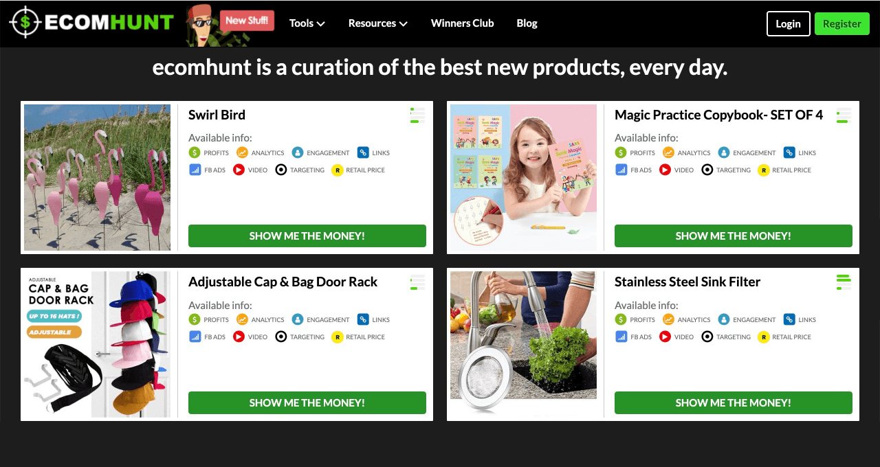Ecomhunt is a curation platform that highlights the hottest products daily from AliExpress