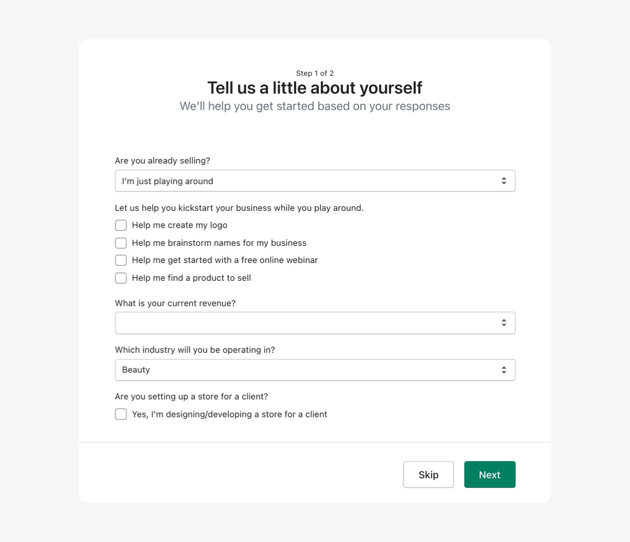 Shopify onboarding questionnaire