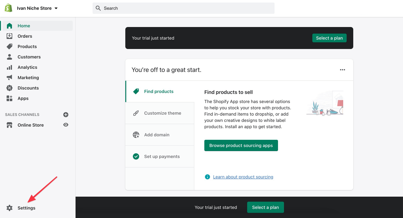 How to access your Shopify settings when starting the account