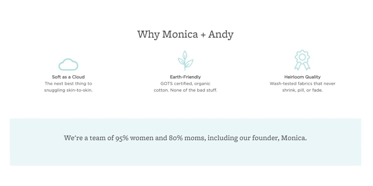 Monica + Andy add a human approach to their product description