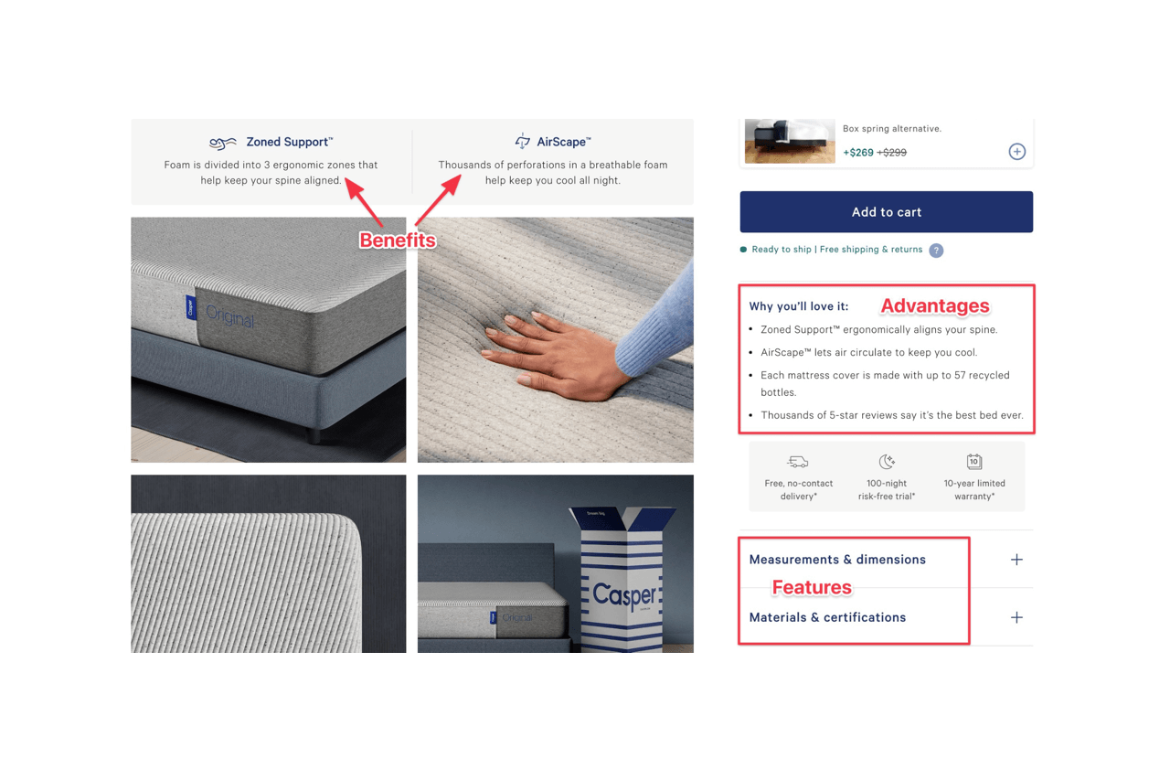 Casper connected features with advantages in their product description