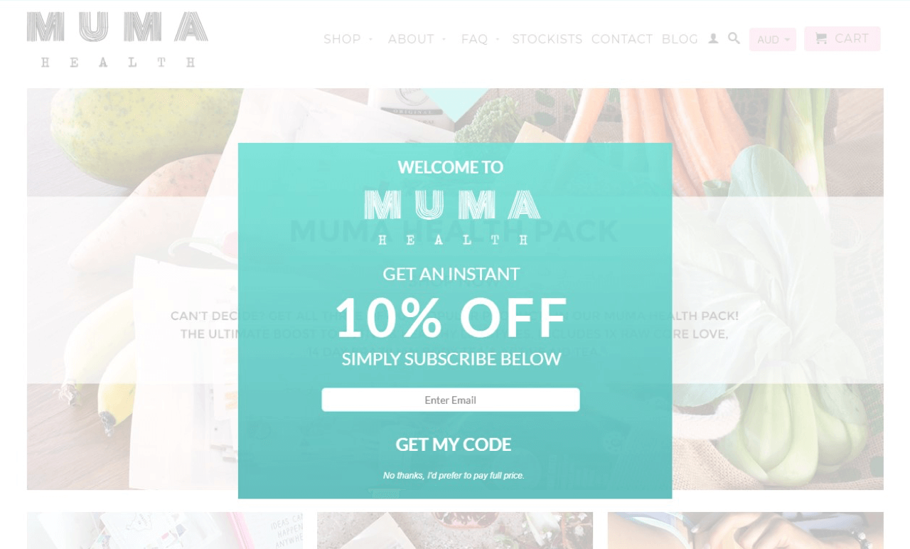 Email subscription popup example from Muma online store