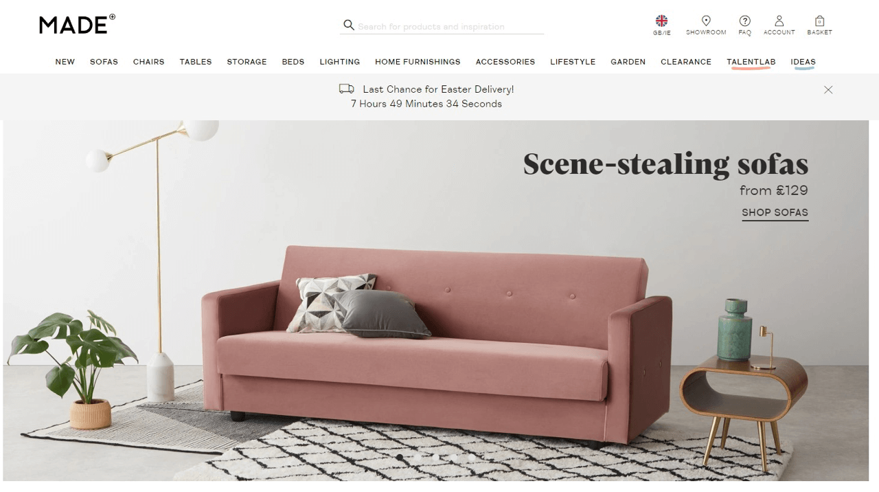 Scarcity tactic example for an online furniture store