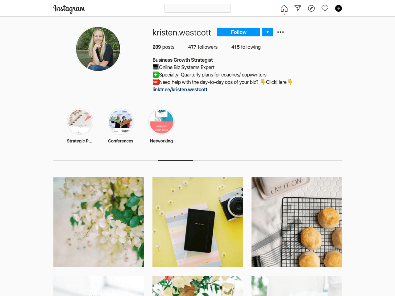 Kristen Wescott uses keywords in her Instagram bio to appear in search results