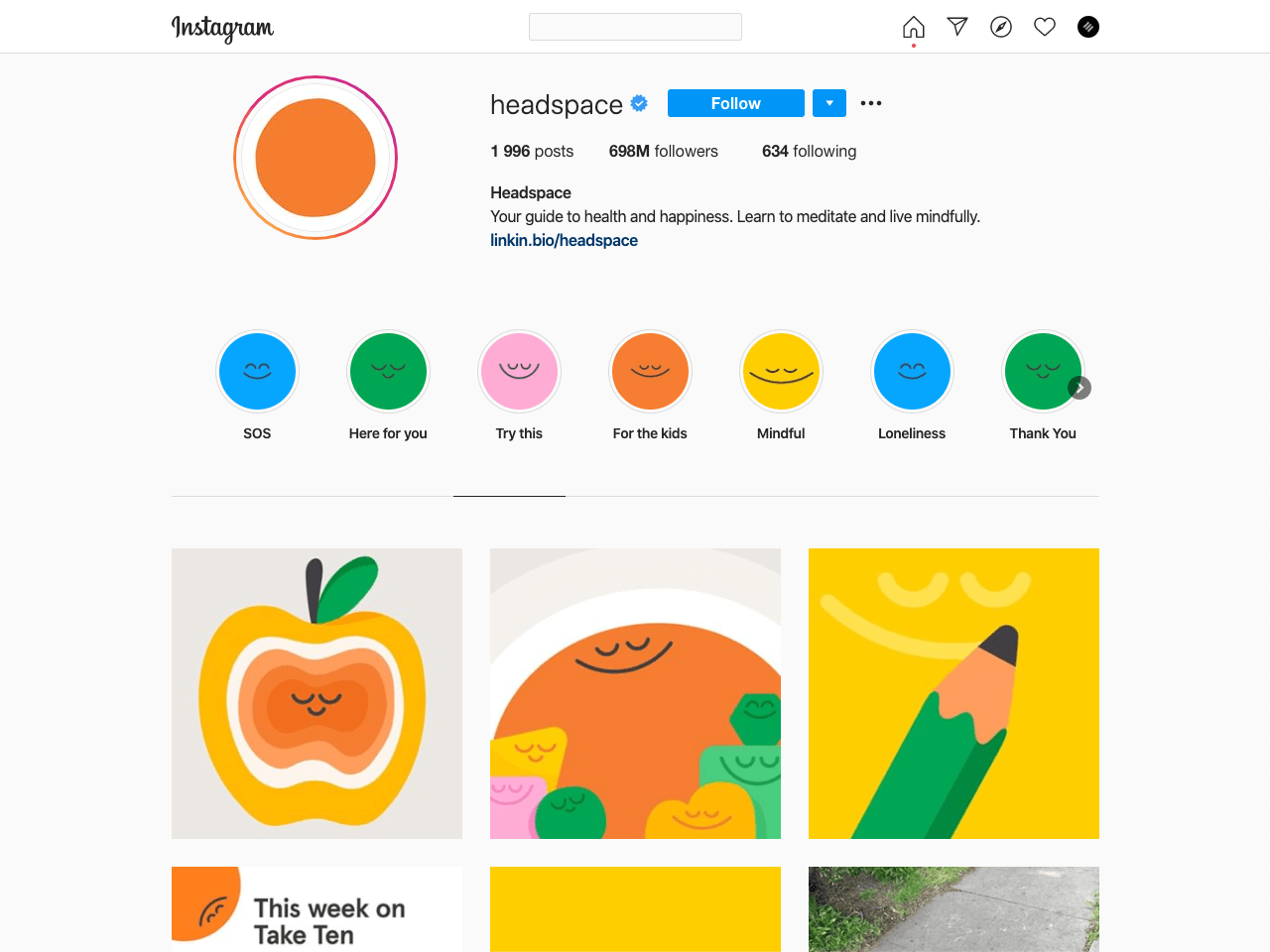 Headspaces crafts their Instagram bio with the focus on the value their app brings
