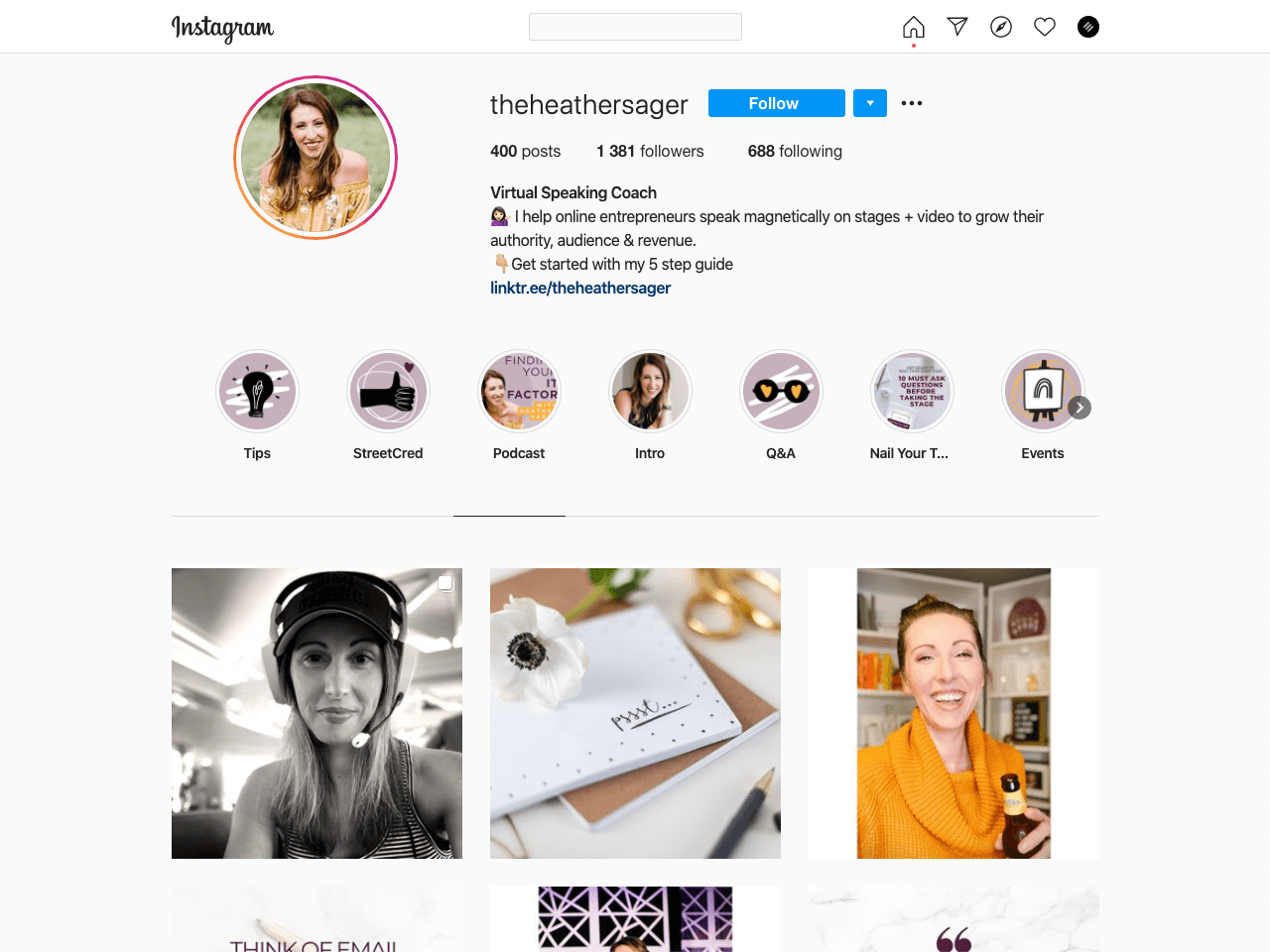 Virtual speaking coach Instagram bio example with an email opt-in form