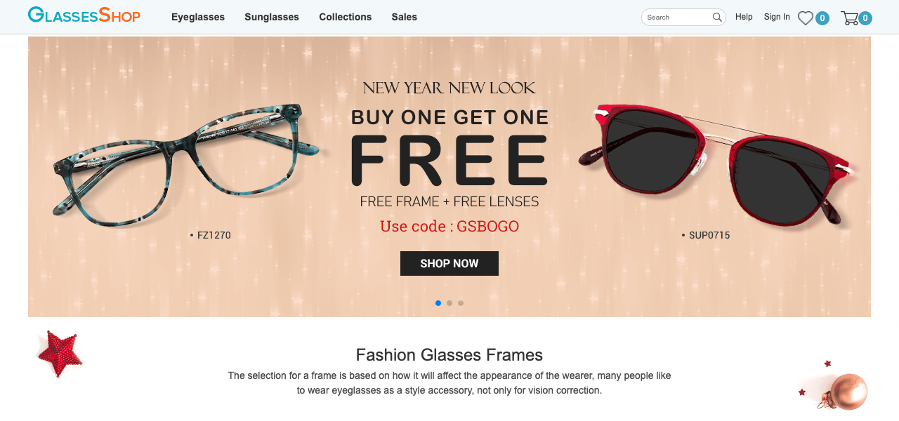 The Glasses shop uses the BOGO offer as their sale promotion