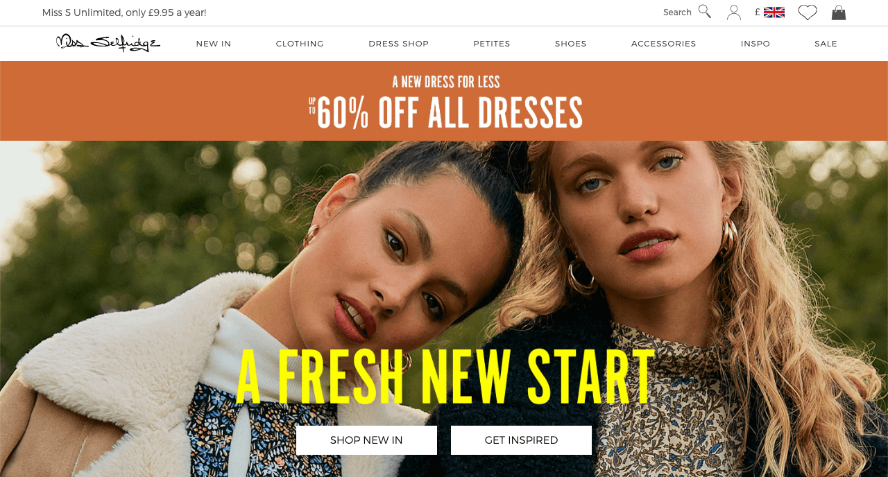 Miss Selfridge sitewide dresses sale promotion example