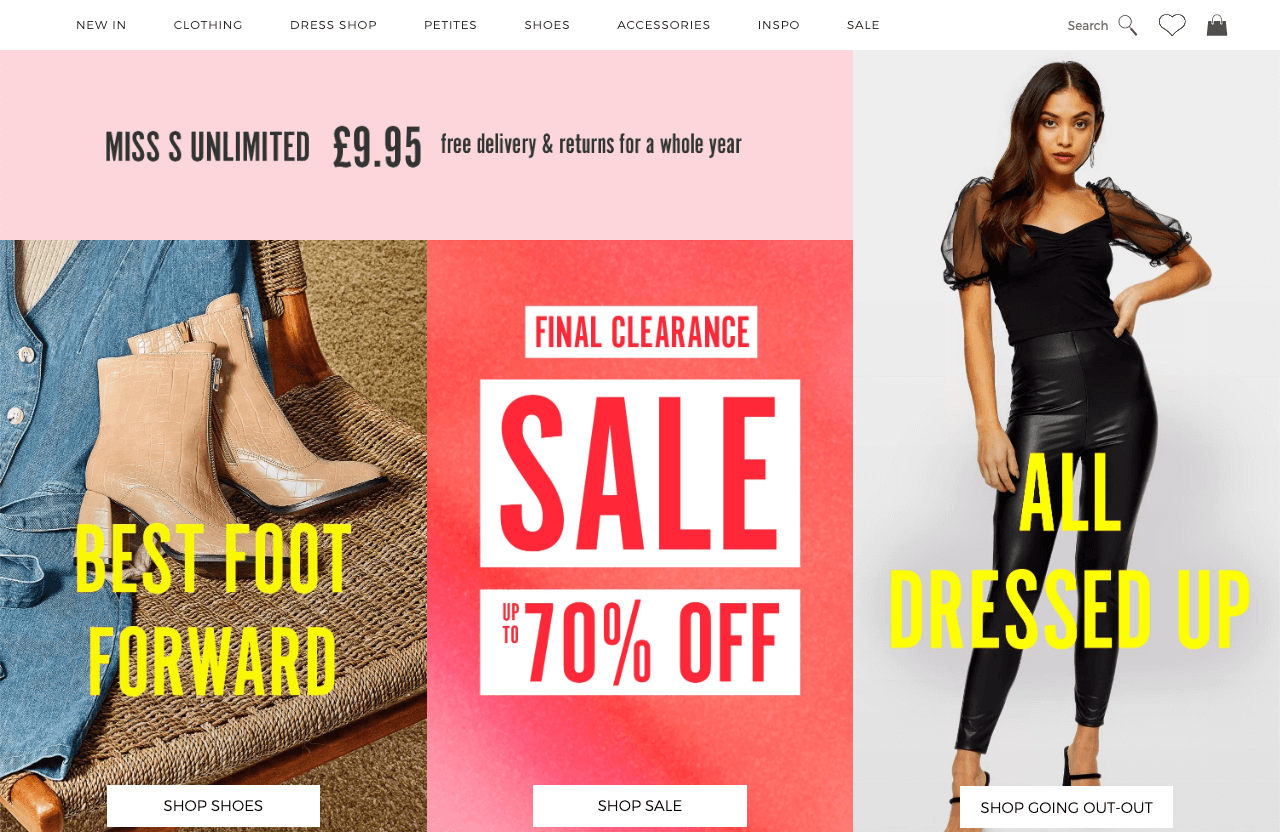 Store clearance with 70% discounts at Miss Selfridge