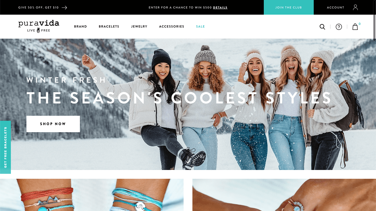 A contest example by Pura Vida – floating webpage bar