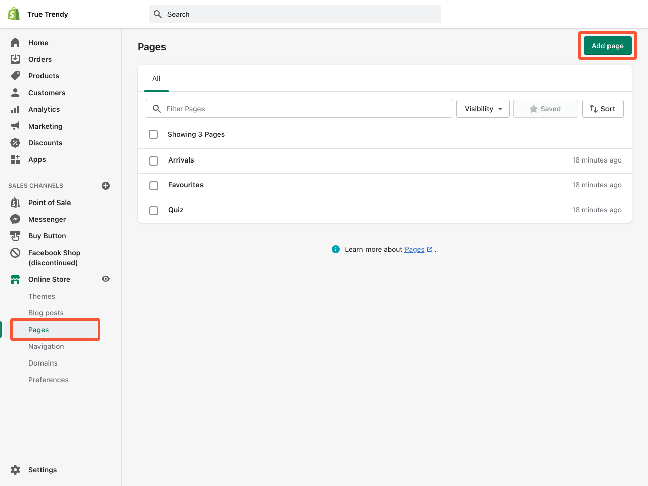 How to create a Shopify About Us page. Step 1