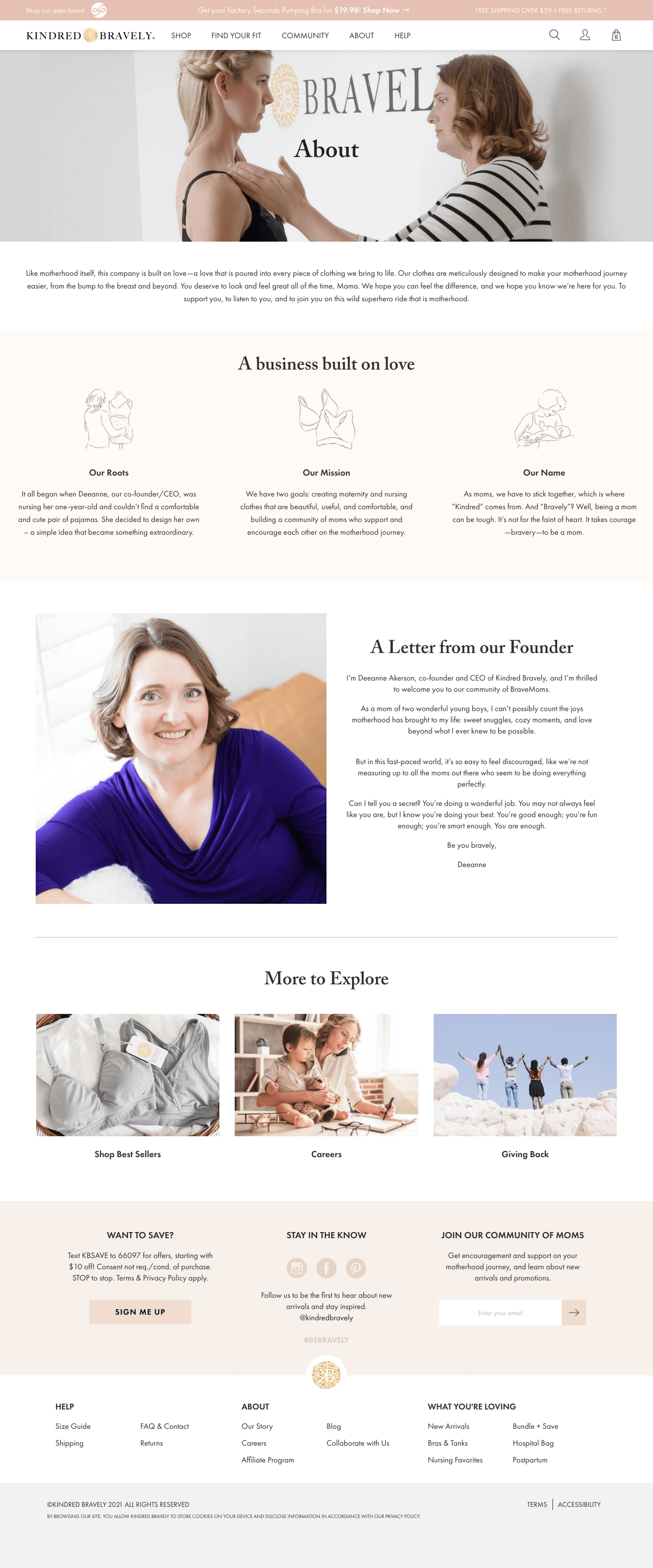 Customer-centric example of a Shopify About Us page by Kindred Bravely
