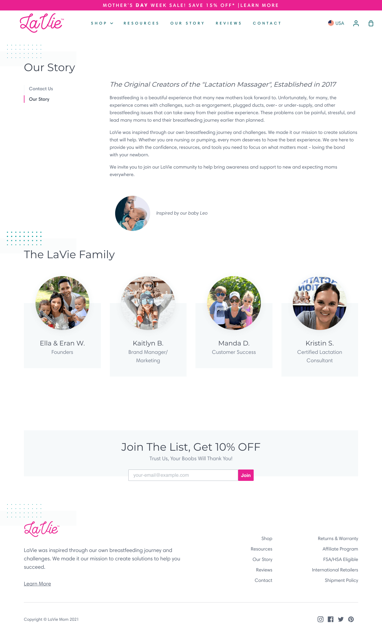 LaVie introduces an issue their customers face on the Shopify About Us page