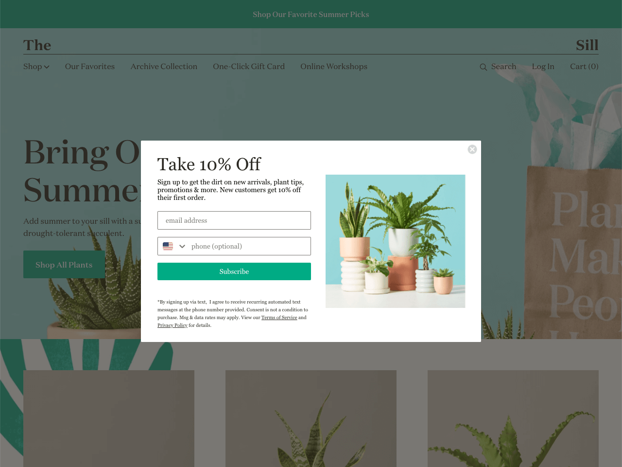 The Sill uses a Shopify popup to collect email addresses