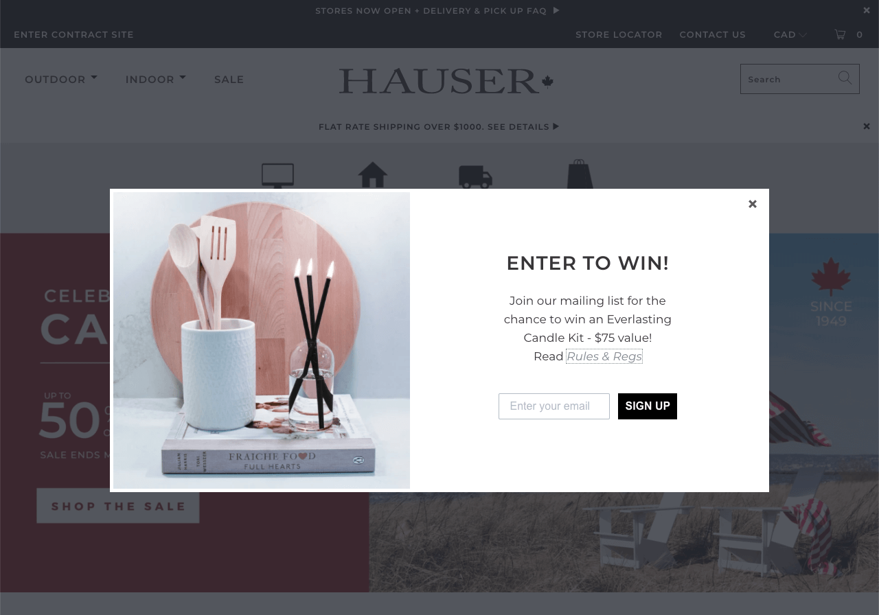 A Shopify popup inviting visitors to participate in a giveaway