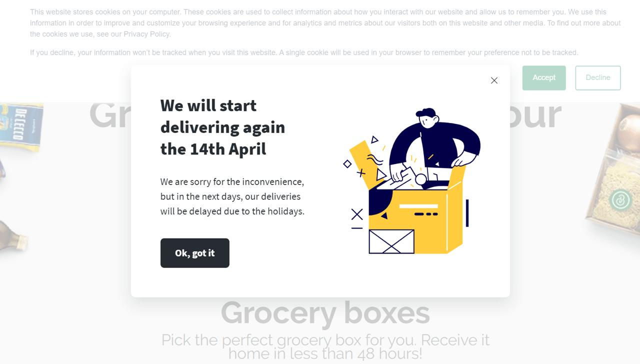 Bella & Bona used a Getsitecontrol popup to announce delivery delays