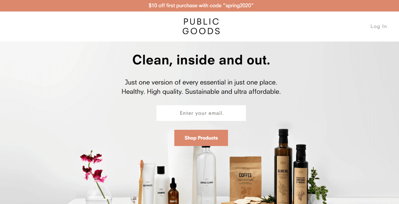 Public Goods uses a sticky bar to offer a discount code to first-time customers